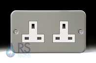 Schneider Exclusive Metal Clad Unswitched Double Socket GMC132S