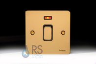 Schneider Flat Plate 20A DP Switch Neon Polished Brass GU2211BPB