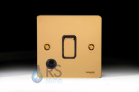 Schneider Flat Plate 20A DP Switch Polished Brass Flex Outlet GU2213BPB