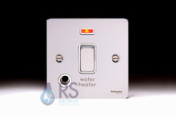 Schneider Flat Plate 20A DP Switch Polished Chrome Flex Outlet & Neon GU2214WHWPC