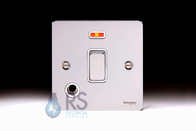 Schneider Flat Plate 20A DP Switch Polished Chrome Neon & Flex Outlet GU2214WPC