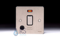 Schneider Flat Plate 20A DP Switch Stainless Steel Flex Outlet & Neon GU2214WHBSS
