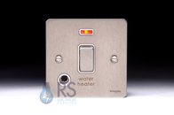 Schneider Flat Plate 20A Switch Stainless Steel Flex Outlet & Neon GU2214WHWSS