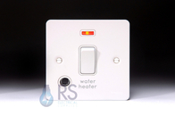 Schneider Flat Plate 20A DP Switch White Metal Flex Outlet & Neon GU2214WHWPW