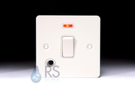 Schneider Flat Plate 20A DP Switch White Metal Flex Outlet & Neon GU2214WPW