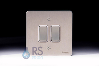 Schneider Flat Plate 2g Retractive Switch Stainless Steel GU1222RWSS