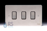 Schneider Flat Plate 3G 2W & INT Light Switch Stainless Steel Double Plate GU1232214BSS
