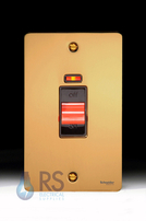 Schneider Flat Plate 50A DP Switch Neon Polished Brass GU4221BPB
