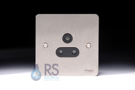 Schneider Flat Plate 5A Unswitched Socket Stainless Steel GU3280BSS