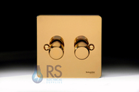 Schneider Flat Plate LED Dimmer Switch Polished Brass GU6222LPB