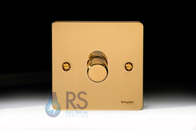 Schneider Flat Plate LED Dimmer Switch Polished Brass GU6212LPB