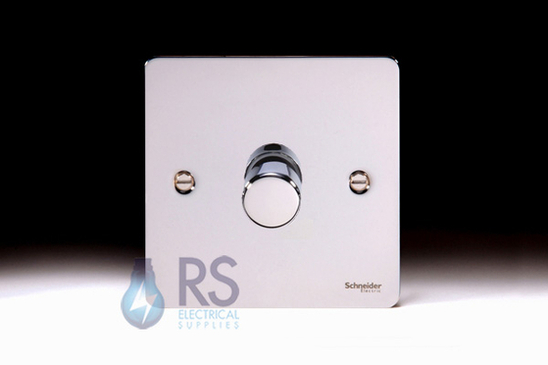 Schneider Flat Plate LED Dimmer Switch Polished Chrome GU6212LPC