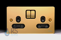 Schneider Flat Plate Double Socket Polished Brass GU3220BPB