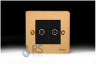 Schneider Flat Plate Double TV Socket Polished Brass GU7220MBPB