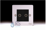 Schneider Flat Plate Double TV Socket Polished Chrome GU7220MBPC