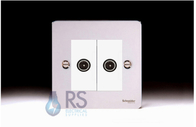 Schneider Flat Plate Double TV Socket Polished Chrome GU7220MWPC