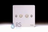 Schneider Flat Plate Double TV Socket Polished Chrome GU7220WPC