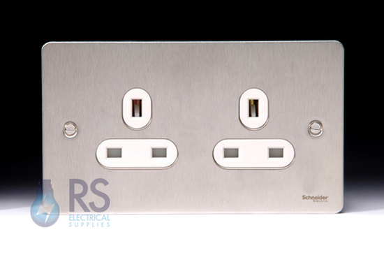 Schneider Flat Plate Double Unswitched Socket Stainless Steel GU3260WSS