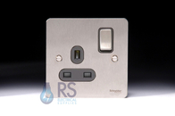 Schneider Flat Plate Single Socket DP Stainless Steel GU3210DBSS