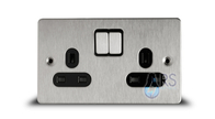 Schneider Flat Plate Double Socket DP Stainless Steel GU3220DBSS