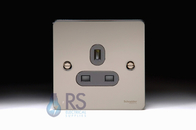 Schneider Flat Plate GU3250BBN Single Unswitched Socket 13A