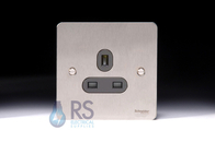 Schneider Flat Plate Single Unswitched Socket Stainless Steel GU3250BSS