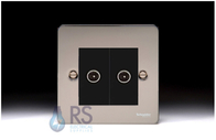 Schneider Flat Plate GU7220MBBN Black Nickel Twin TV Socket