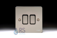 Schneider Flat Plate Light Switch Black Nickel 2G GU1222BBN