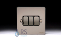 Schneider Flat Plate Light Switch Black Nickel 3G GU1232BBN