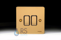 Schneider Flat Plate Light Switch Polished Brass 2G GU1222BPB