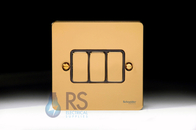 Schneider Flat Plate Light Switch Polished Brass Metal 3G GU1232BPB