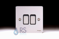 Schneider Flat Plate Light Switch Polished Chrome 2G GU1222BPC