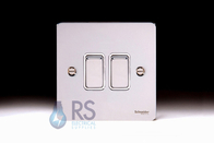 Schneider Flat Plate Light Switch Polished Chrome 2G GU1222WPC