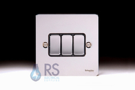 Schneider Flat Plate Light Switch Polished Chrome 3G GU1232BPC