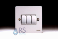 Schneider Flat Plate Light Switch Polished Chrome 3G GU1232WPC