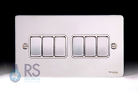 Schneider Flat Plate Light Switch Polished Chrome 6G GU1262WPC