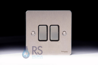 Schneider Flat Plate Light Switch Stainless Steel 2G GU1222BSS