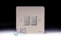 Schneider Flat Plate Light Switch Stainless Steel 2G GU1222WSS