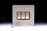 Schneider Flat Plate Light Switch Stainless Steel 3G GU1232BSS