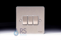 Schneider Flat Plate Light Switch Stainless Steel 3G GU1232WSS