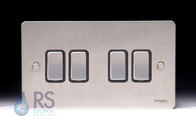 Schneider Flat Plate Light Switch Stainless Steel 4G GU1242BSS