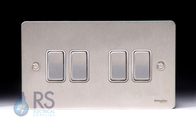 Schneider Flat Plate Light Switch Stainless Steel 4G GU1242WSS
