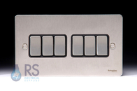 Schneider Flat Plate Light Switch Stainless Steel 6G GU1262BSS