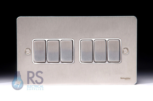 Schneider Flat Plate Light Switch Stainless Steel 6G GU1262WSS