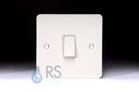 Schneider Flat Plate Light Switch White Metal 1G GU1212WPW