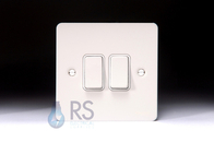 Schneider Flat Plate Light Switch White Metal 2G GU1222WPW