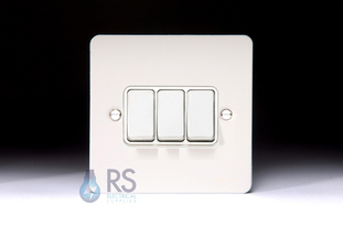 Schneider Flat Plate Light Switch White Metal 3G GU1232WPW