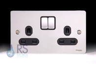 Schneider Flat Plate Polished Chrome DP Switched Double Socket GU3220DBPC