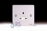 Schneider Flat Plate Polished Chrome Single Unswitched Socket GU3250WPC