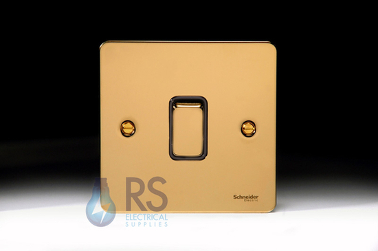 Schneider Flat Plate Retractive Switch Polished Brass GU1212RBPB